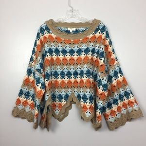 Umgee Striped Crochet Sweater | S